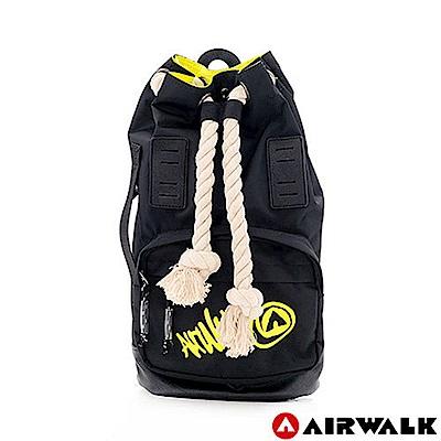【AIRWALK】 兩用束口包雙料多功能後背束口包(黑色)