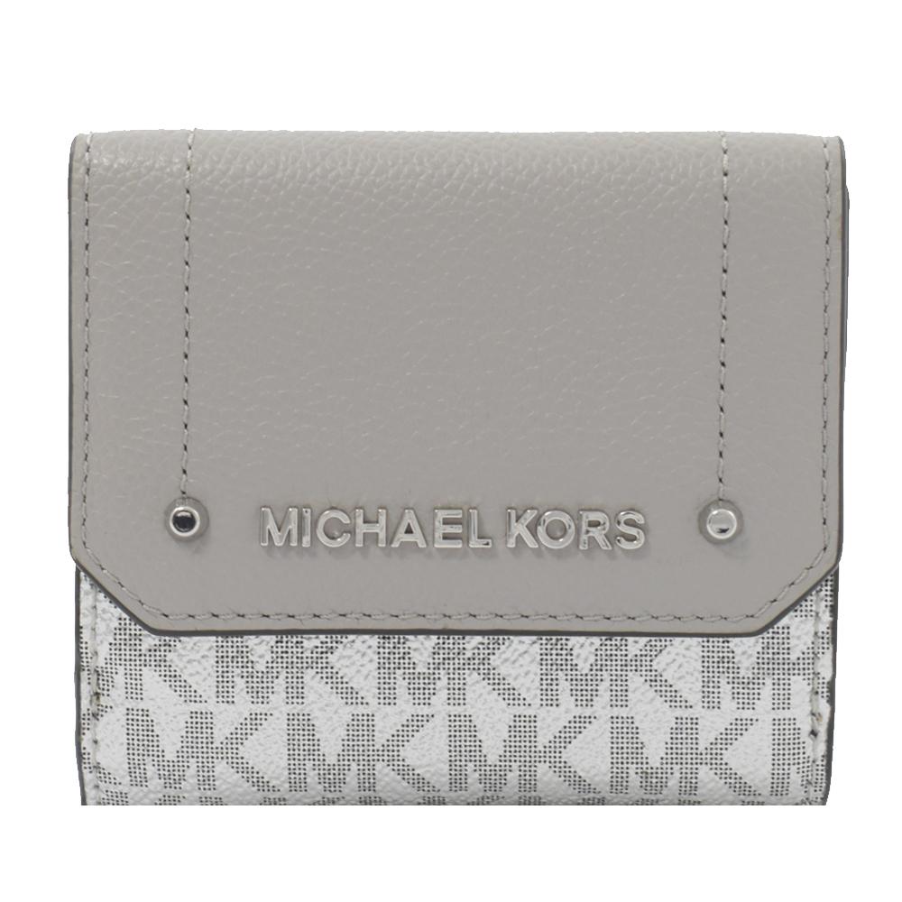 MICHAEL KORS HAYES 牛皮PVC雙色三折短夾(灰白)