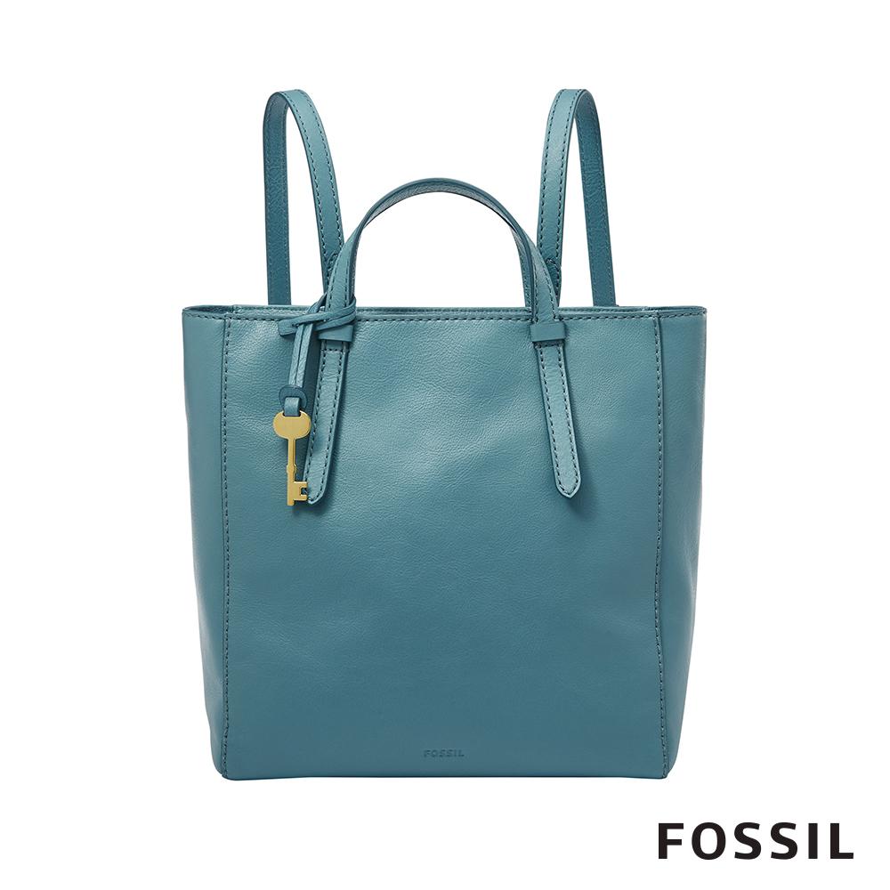 FOSSIL CAMILLA 真皮三用小後背包-湖水藍色 ZB7667981