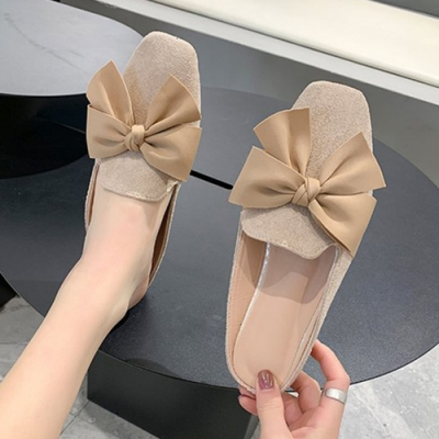 KEITH-WILL時尚鞋館 夏氛蝴蝶結穆勒鞋-米