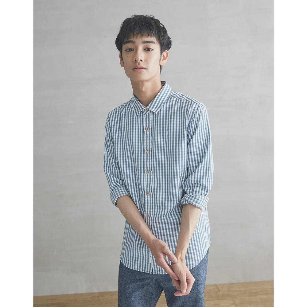 CACO-清新小格紋襯衫(三色)-男【SPA041】