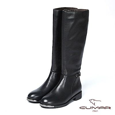 CUMAR率性柔美 - 極簡風格拼接腳踝帶真皮長靴