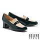 高跟鞋 HELENE SPARK 復古時髦撞色方頭樂福高跟鞋-綠 product thumbnail 1