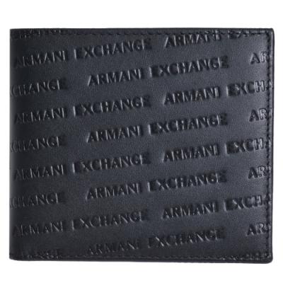 ARMANI EXCHANGE 品牌字母LOGO斜壓紋八卡牛皮短夾(黑)