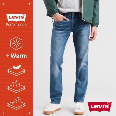 Levis 男款 511低腰修身窄管牛仔褲 WARM JEANS 機能保暖內刷毛 中藍石洗 彈性布料