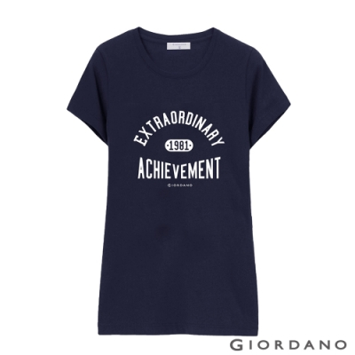 GIORDANO 女裝棉質圓領標語印花T恤-  18 標誌海軍藍