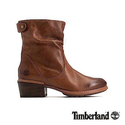 Timberland 女款中咖啡色全粒面皮革休閒低跟靴|A1SDE