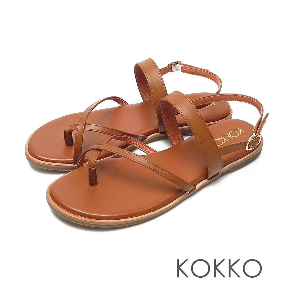 KOKKO素面牛皮細帶皮延條夾腳平底涼鞋棕色