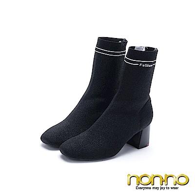 nonno 諾諾 亮眼奪目粗跟筒靴 黑