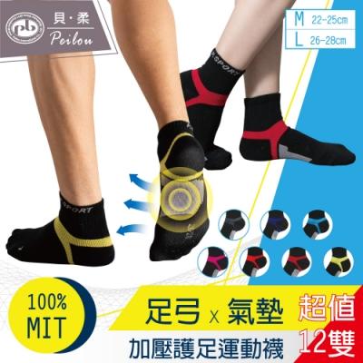 [時時樂限定]貝柔機能足弓加壓氣墊短襪-男女款(12雙組)