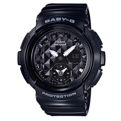 BABY-G 魅力無限時尚穿搭鉚釘風格休閒錶(BGA-195-1A)-黑色44.3mm
