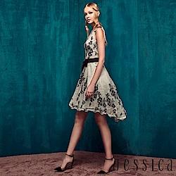 JESSICA - 典雅黑白蕾絲造型腰帶背心洋裝