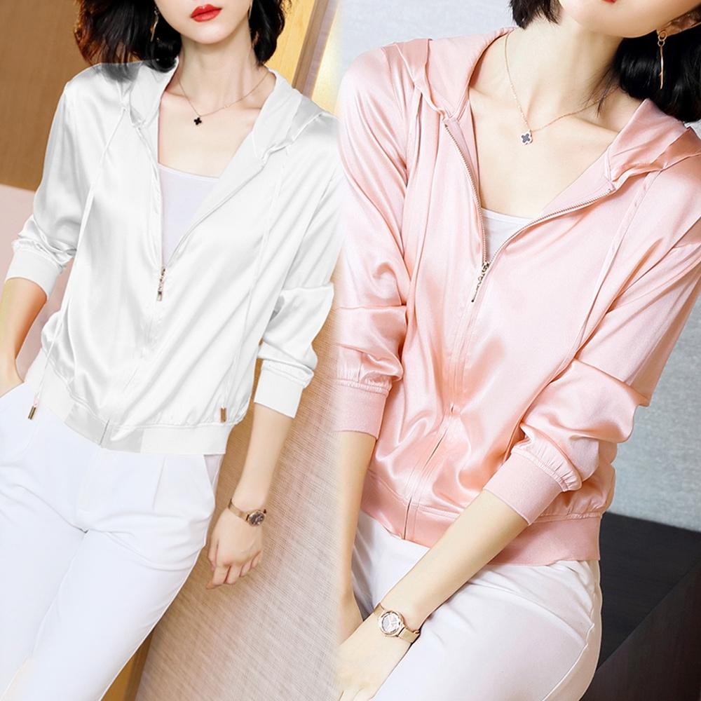 【韓國K.W.】(預購) 輕鬆夏季時尚百搭連帽外套