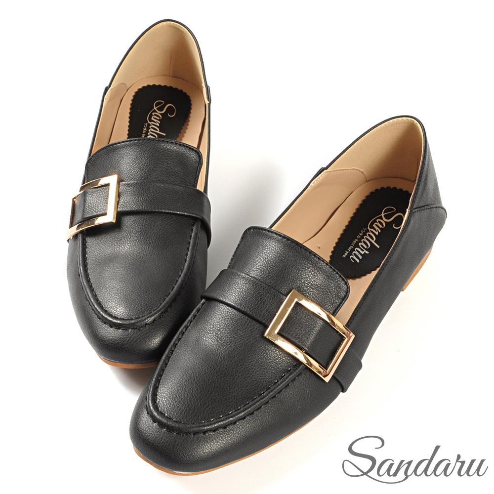 山打努SANDARU-紳士鞋 方頭金釦後踩休閒鞋-黑