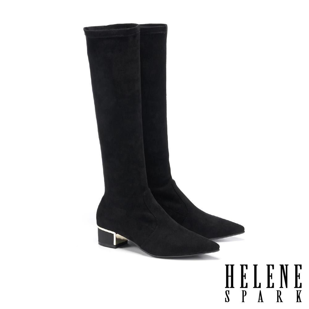 襪靴 HELENE SPARK 簡約時尚金屬尖頭粗高跟彈力長襪靴-黑