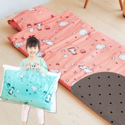 奶油獅-森林野餐-台灣製造-可黏式收納安親午睡記憶睡墊(含枕)幼幼床-橘紅
