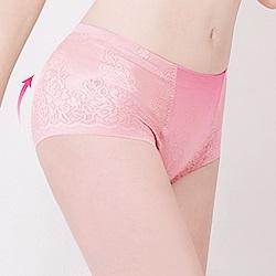 中腰無痕透氣緹花M-2XL一分提臀褲 高雅粉 可蘭霓Clany