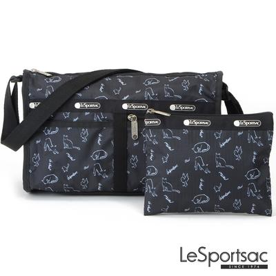 LeSportsac - Standard 雙口袋斜背包-附化妝包 (黑貓與鳥)