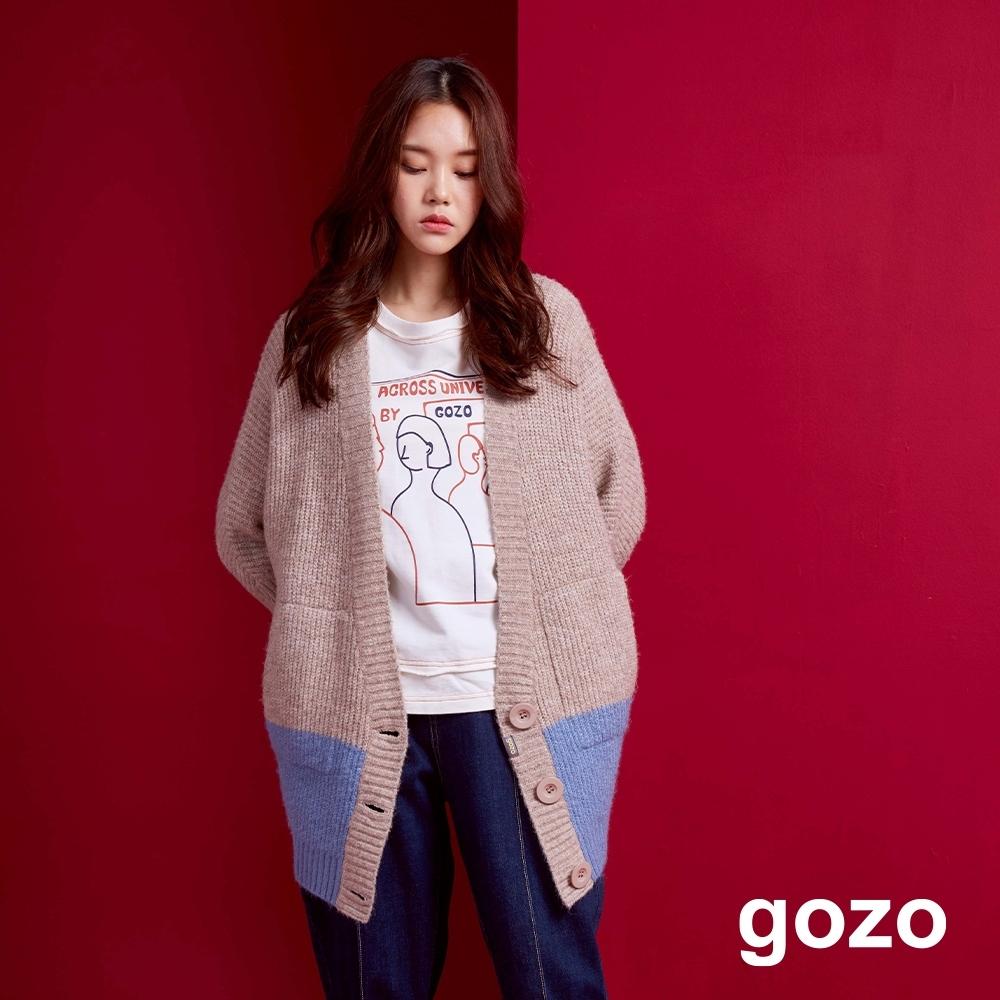 gozo 雙色粗針針織外套(二色) product image 1