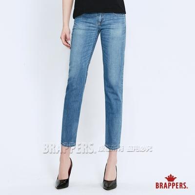 BRAPPERS 女款 Boy Friend系列-中低腰八分反摺褲-淺藍