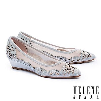 高跟鞋 HELENE SPARK 晶鑽雕花鏤空麂皮楔型高跟鞋-銀