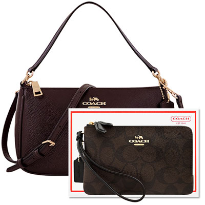COACH 深咖啡色亮澤防刮皮革手提包+COACH 巧克力色雙層手拿包