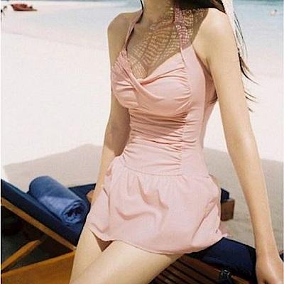 AH dream夢想女孩 鋼圈 粉色顯瘦後綁帶連身泳裝