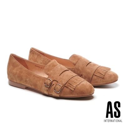 平底鞋 AS 金屬帶版流蘇造型全真皮樂福平底鞋-駝