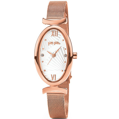 Folli Follie Lady Bloom 時尚羅馬不鏽鋼腕錶33*20mm/玫瑰金