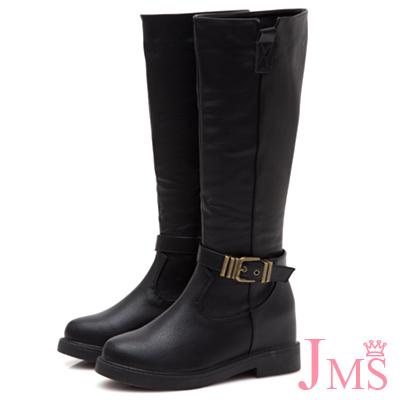 JMS-率性俐落金屬扣飾內增高拉鍊長靴-黑色