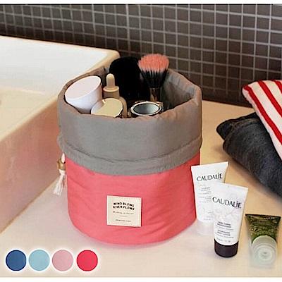 E.dot 加厚圓筒大容量旅行化妝包3件組