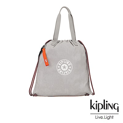 Kipling Blank Canvas系列棉質丹寧束口手提袋-NEW HIPHURRAY