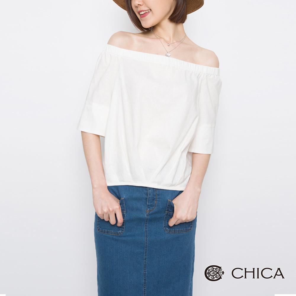 CHICA 浪漫初春一字領設計上衣(2色)
