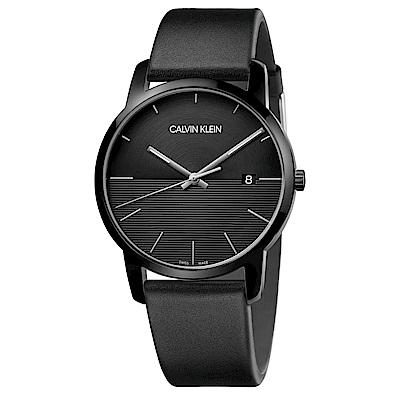 CALVIN KLEIN City都會系列大三針鍍PVD黑款手錶-43mm