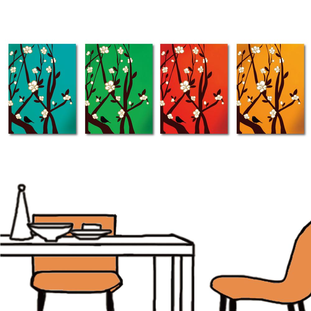 橙品油畫布 多聯式無框畫-彩梅30x40cm