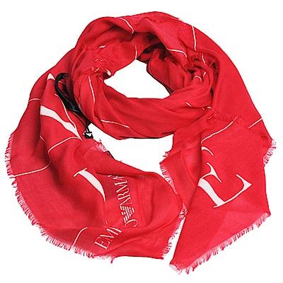 EMPORIO ARMANI 義大利製繽紛字母品牌LOGO莫代爾混羊毛造型圍巾(紅)