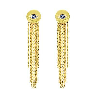 apm MONACO法國精品珠寶 藍色璀璨之眼垂墜流蘇金色耳針式耳環