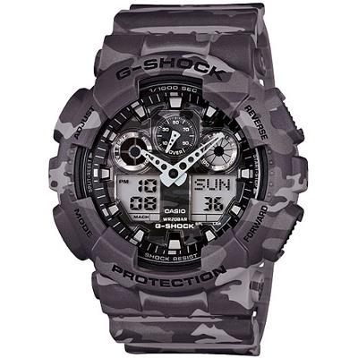 G-SHOCK 街頭時尚迷彩圖樣腕錶-迷彩灰(GA-100CM-8A)/55mm