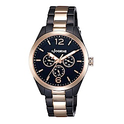 LICORNE 力抗錶 經典工藝三眼手錶 黑×玫瑰金/42mm