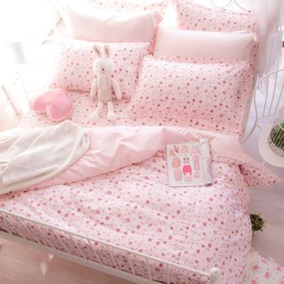 OLIVIA 花香 粉 雙人全鋪棉床包兩用被套四件組 歐式枕套 200織精梳純棉 台灣製