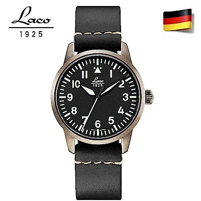 Laco 朗坤861884 德國工藝軍事風格機械錶 皮帶 仿舊古銅 36mm 女士機械錶