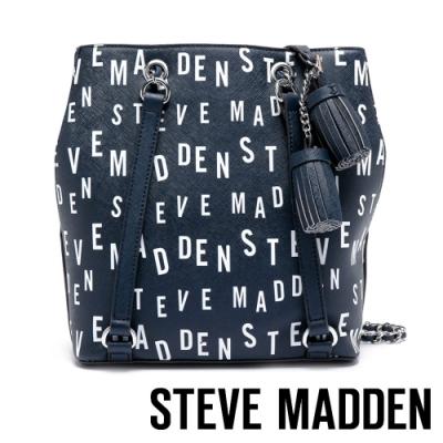 STEVE MADDEN-BCAPRI-B-真皮LOGO圖騰手提包-藍色