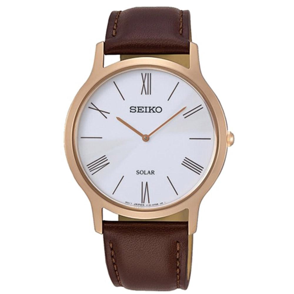 SEIKO 精工 太陽能計時腕錶-咖啡42mm(SUP854P1/V115-0BE0J)