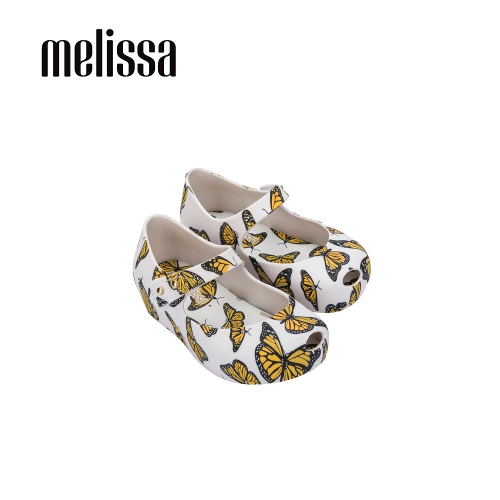 Melissa 滿版蝴蝶印花娃娃鞋 寶寶款-白