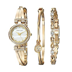 Anne Klein 奪目星燦絕美腕錶 施華洛世奇美鑽手錶手鍊套組-白x24mm