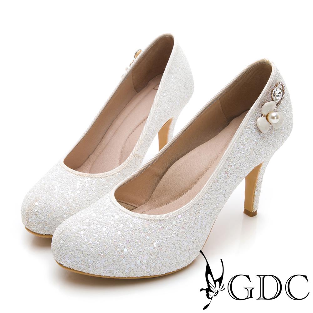 GDC-甜美水鑽小花閃亮高跟新娘鞋-白色