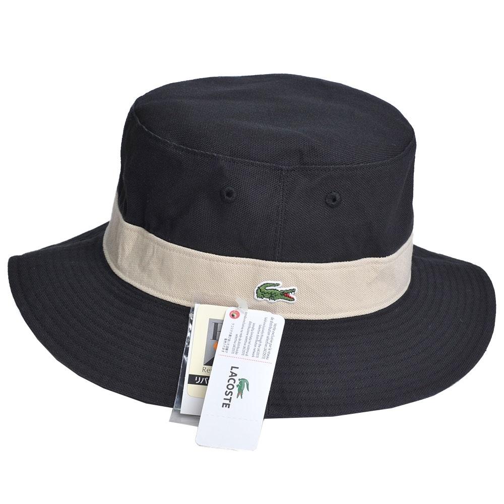 LACOSTE 品牌鱷魚刺繡LOGO圖騰雙面用遮陽帽(黑色系)