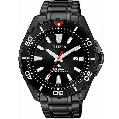 CITIZEN星辰 光動能 200米潛水錶(BN0195-54E)-黑/43.5mm