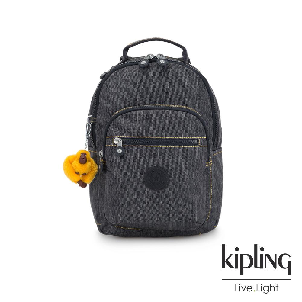 Kipling 深灰丹寧撞色縫線機能手提後背包-小-SEOUL GO S