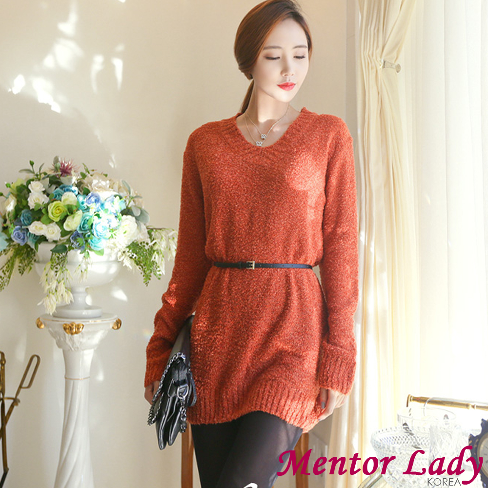 【Mentor Lady】都會慵懶風寬鬆長版毛衣 (棕色)